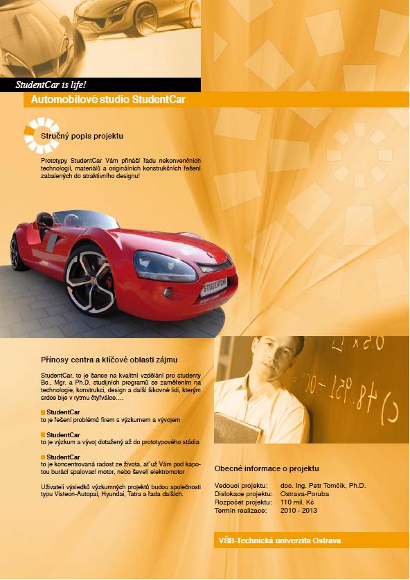 Leták Automobilového studia StudentCar